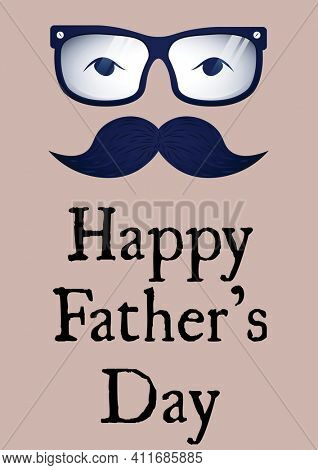 Happy father's day text with illustration of face with glasses and blue moustache on pink background. father's day concept digitally generated image.