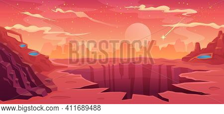 Space Background Alien Fantastic Landscape With Rocks And A Large Crater, Empty Surface Of The Red P