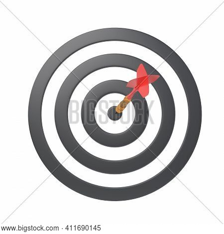 Dart Hitting A Target On The Center Isolated On White Background. Minimal Concept. 3d Render Illustr