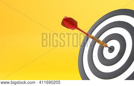 Dart Hitting A Target On The Center On Yellow Background With Copy Space. Minimal Concept. 3d Render