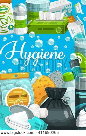Personal Hygiene And Beauty Care Products Cartoon Vector. Soap, Sponge, Toothbrush And Toothpaste, S