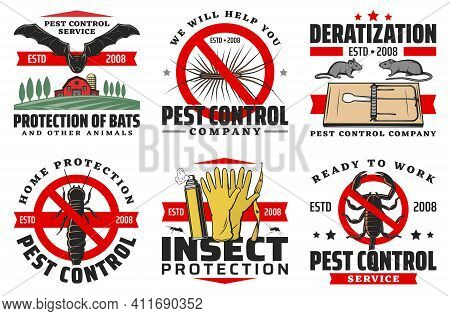 Pest Control Service Isolated Vector Icons. Protection Of Bats, Rats Or Mice And Centipede, Silverfi