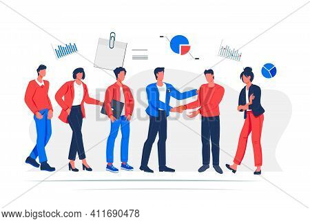 Partnership And Teamwork Concept Of Business People Characters. Financing Of Projects And Agreement,