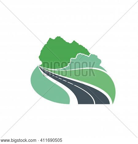 Road Icon Forest And Highway Path Way, Vector Travel And Journey Trip Symbol. Road Curve To Forest,
