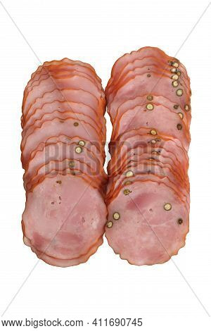 Krakowska, Dried, Smoked Sausage With Green Pepper, In Slices, Isolated On White Background. Sliced