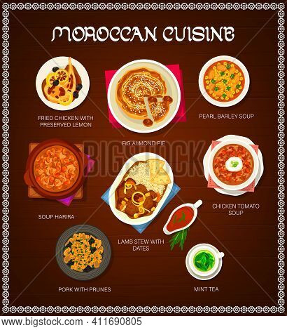 Moroccan Cuisine Restaurant Menu Template. Pork With Prunes, Lamb Stew With Dates And Mint Tea, Pear