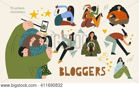 Blogger Set Blogging And Influencer Concept. Bundle Of Young Trendy Vloggers, Group Of Modern Blogge