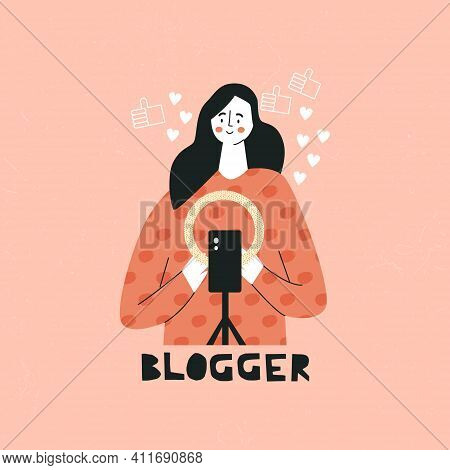 Blogger Promotion Service And Good For Her Followers Online Young Female Vlogger Recording Video. Cu