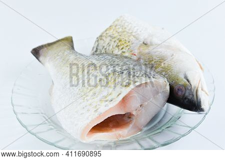 Barramundi Fish On Plate Over White Background.