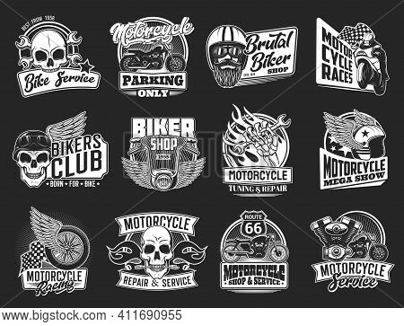 Motorcycle Isolated Icons Of Vector Biker Club And Motorsport Design. Motor Bikes With Wing, Wheel A