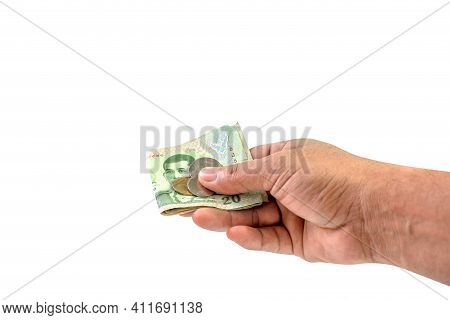 Money Banknote Thai Baht In Hand Close-up, (savings, Shopping, Pay, Borrow Concept), Hand Holding Pa