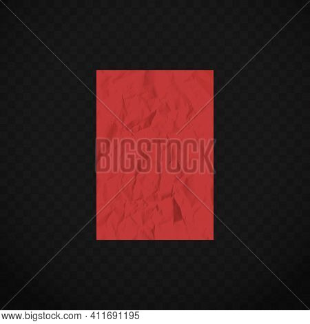 Red Creased Paper Sheet On Transparent Background. Colored Crumpled Paper. Crumpled Texture Effect.