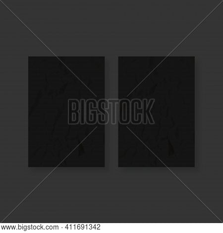 Two Black Crumpled Paper Sheet. Colored Creased Paper Sheet. Crumpled Texture Effect. Vector