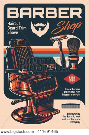 Barber Shop Vector Vintage Poster With Armchair And Classic Equipment Shaving Brush And Razor Blade