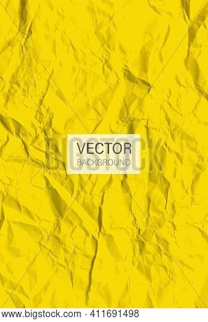 Yellow Crumpled Paper. Crumpled Texture Effect. Colored Creased Paper Sheet. Vector Background
