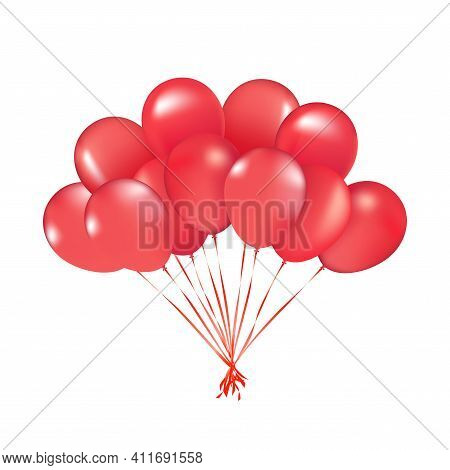 Party Vector Balloons Red Birthday Balloon Modern Holiday Decoration Balloons Anniversary Retirement