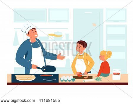 Dad In Apron And Chef's Hat Cooking With Kids In The Kitchen. Making Pancakes With Children. Family