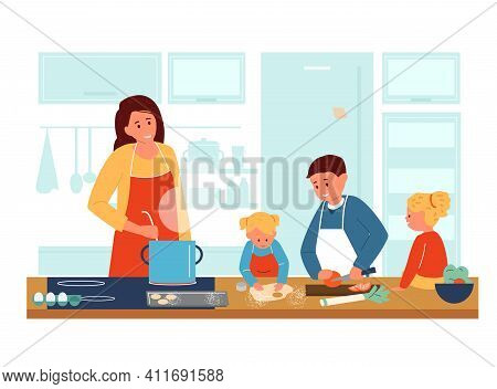 Mother Cooking With Children In Kitchen. Kids In Aprons Helping Mother To Make Dinner. Family Activi