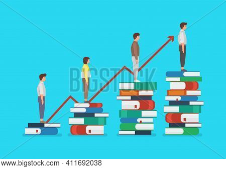 Education Development Of People Standing On A Lot Of Books. Knowledge Concept Vector Illustration