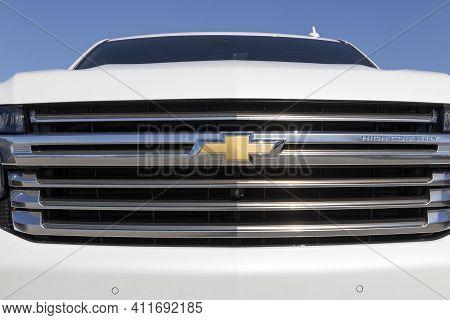 Indianapolis - Circa March 2021: Chevrolet Silverado 1500 Display. Chevy Is A Division Of General Mo