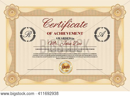 Certificate Of Achievement And Appreciation Diploma Vector Template With Premium Award Gold Seal. Gr