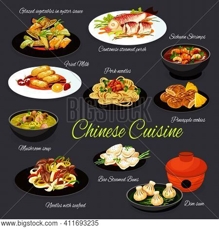 Chinese Cuisine Food, Asian Restaurant And China Dishes, Vector Menu Meals. Chinese Oriental Sichuan