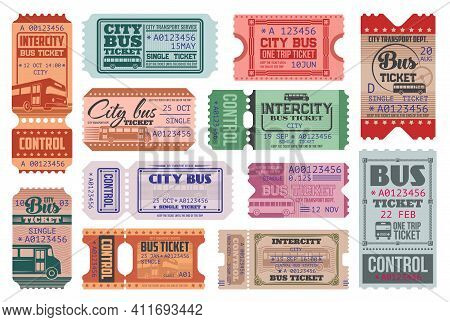 City Bus Ride Retro Tickets Vector Templates Set. Passenger Transportation Department, Intercity Tra
