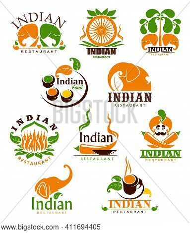 Indian Food Restaurant Vector Icons, Cartoon Emblems With Traditional Symbols Of India. Chili Pepper