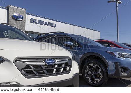 Indianapolis - Circa March 2021: Subaru Car Dealership. Subaru Manufactures A Majority Of Vehicles S