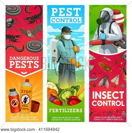 Garden Pest And Insects Control Banners. Man In Hazmat Suit And Gas Mask Spraying Pesticide On Veget