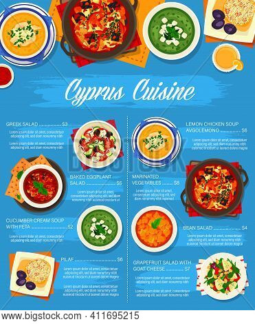 Cyprus Cuisine Vector Grapefruit Salad With Goat Cheese, Lemon Chicken Soup Avgolemono And Baked Egg