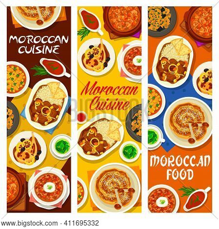 Moroccan Cuisine Cafe Food Meals Banners. Chicken Tomato Soup, Fig Almond Pie And Lamb Stew With Dat
