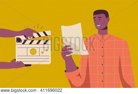 Backstage Of Filmmaking Scene. Actor Rehearses And Reads Script