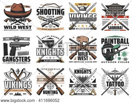 Guns And Swords Weapon Retro Icons. Shooting, Hunting And Paintball Club, Gangsters And Vikings Cold