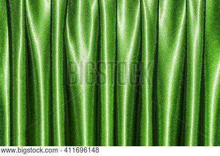 Satin Curtain Background. Wavy Fabric Pattern. Elegant Silk Material Curtain. Shiny Textile Texture.