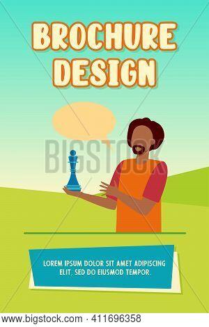 Chess Player Holding Piece. Chess Queen, Speech Bubble, Figure Flat Vector Illustration. Sport, Game