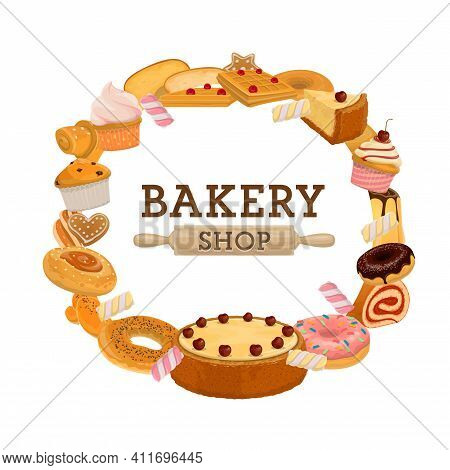 Bakery Shop Pastry Round Banner. Cherry Cake And Cupcake, Muffin And Croissant, Waffles And Donuts,