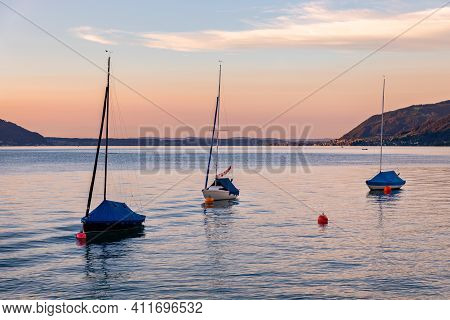 Attersee - Lake In Upper Austria During Summer Evening