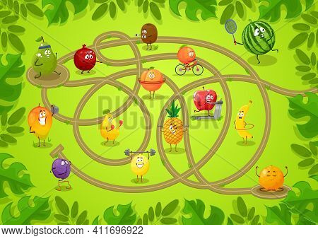 Kids Board Game With Fruits, Connect Two Round Platforms Task. Vector Boardgame Template With Tangle