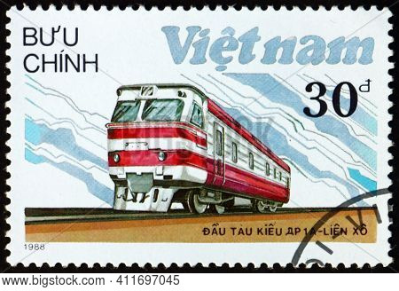 Vietnam - Circa 1988: A Stamp Printed In Vietnam Shows Dr-1a, Locomotive From Russia, Circa 1988