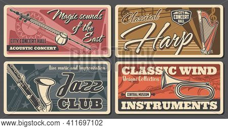 Classical And Jazz Music Concert Retro Banners. Kamancheh And Classic Harp, Bugle, Saxophone And Sha