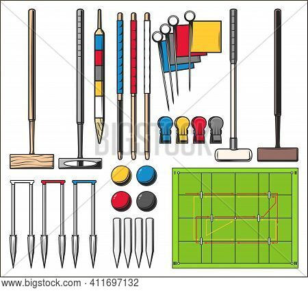 Croquet Sport Game Court And Equipment Set. Wooden Mallets And Balls, Center Peg, Goal Stake And Hoo