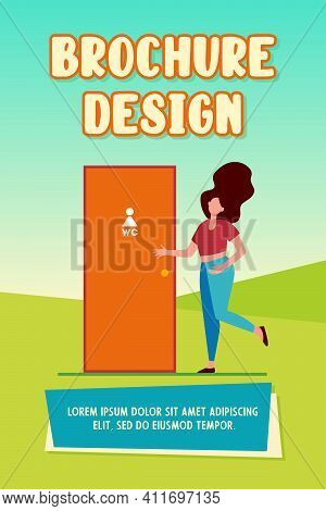 Woman Waiting Her Turn At Wc Door. Lavatory, Public Convenience, Toilet Room Flat Vector Illustratio