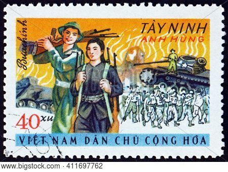 Vietnam - Circa 1969: A Stamp Printed In Vietnam Shows Insurgents And Destroyed Us Armor, Tay Ninh,