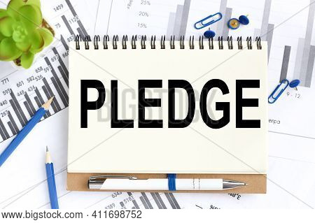 Pledged. Text On White Notepad Paper On Light Background