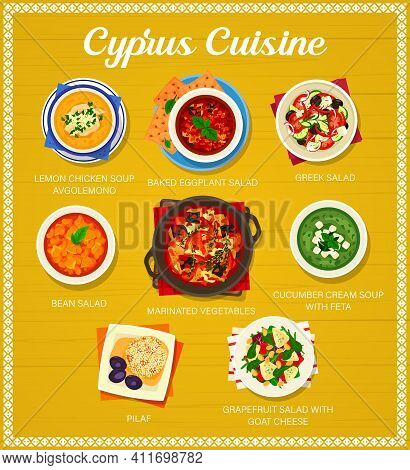 Cyprus Cuisine Vector Lemon Chicken Soup Avgolemono, Baked Eggplant, Greek And Bean Salads. Marinate