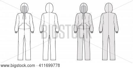 Onesie Overall Jumpsuit Sleepwear Technical Fashion Illustration With Full Length, Hood, Zipper Clos