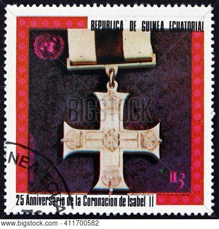 Equatorial Guinea - Circa 1978: A Stamp Printed In Equatorial Guinea Shows Military Cross 1914, Eliz