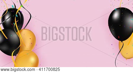 Black And Yellow Helium Balloons On Pink Background. Flying Latex Ballons. Vector Illustration. Holi
