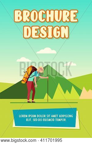 Tired Woman Hiking In Mountains. Trekking, Heavy Backpack, Active Tourist Flat Vector Illustration.